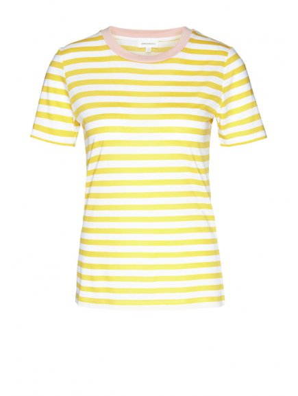 "Dámské pruhované tričko z biobavlny a eukalyptu ""Lidaa Bold Stripes White-Yellow"""