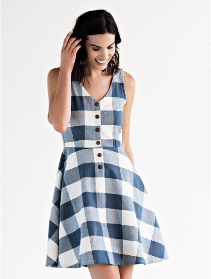 dress midsummerdream blueplaid m