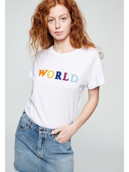 """Dámské tričko z biobavlny """"NAALIN WORLD"""""""