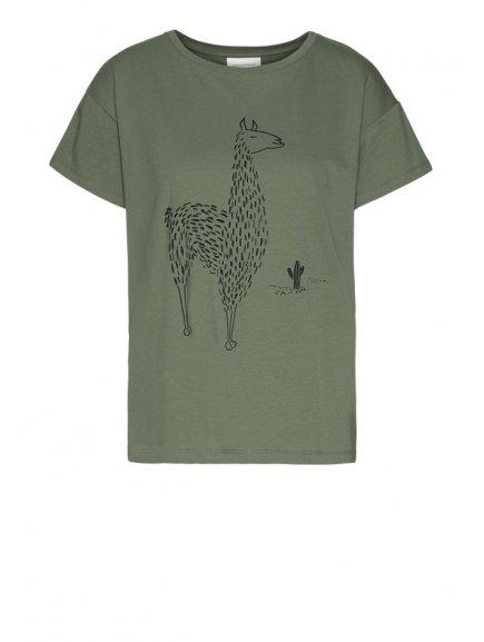 "Dámské zelené tričko ""NELAA LLAMA IN THE DESERT"""