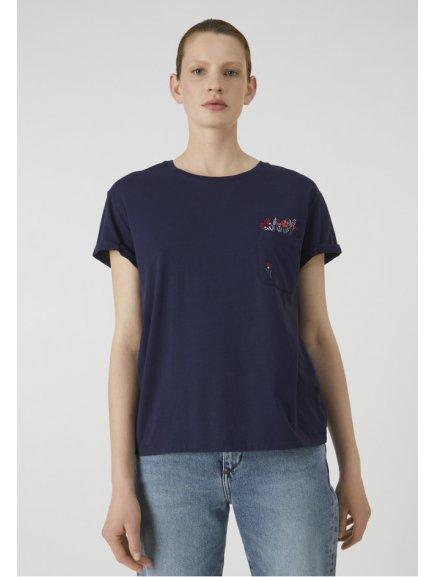 "Dámské modré tričko z biobavlny ""NAALIN POCKET FULL OF FLOWERS"""