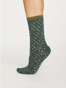 spw419 forest green ladies natural spot dotty bamboo socks 1