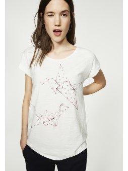 """Dámské krémové tričko """"Liv Origami Bird"""""""