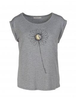"""Dámské šedé tričko s květinou """"Anika Maguerite"""""""
