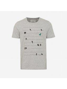 """Pánské šedé tričko """"James Birds Online"""""""
