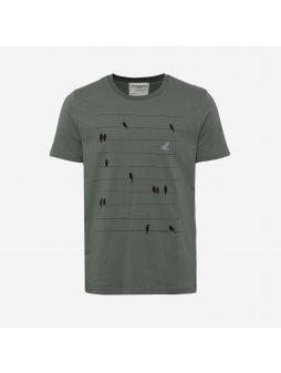 """Pánské khaki tričko """"James Birds Online"""""""