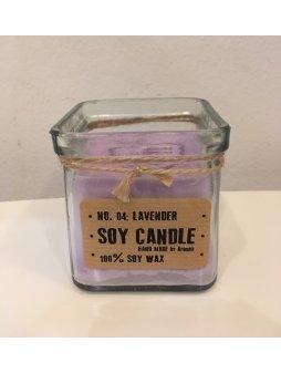 """Svíčka ze sojového vosku """"Levandule"""" (kostka recyklované sklo 110g)"""