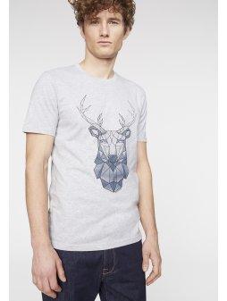 "Pánské šedé tričko ""James Geo Deer"""
