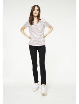 """Dámské proužkaté tričko """"Josi Twin Stripes Spicy Red-Navy"""""""