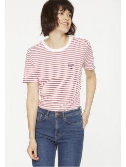 """Dámské červené tričko """"Lida Bisou On Stripes"""""""