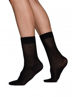 Emma Leopard Socks Black