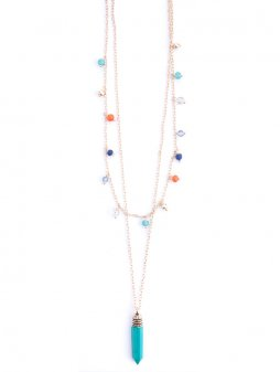 necklace layeredcharm turquoise