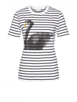 "Dámské bílé tričko ""Lida Big Swan On Stripes"""