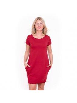 Dámské červené šaty AFRODITÉ s krátkým rukávem