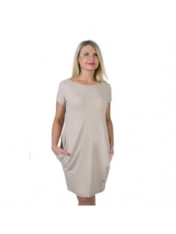 Dámské capuccino šaty AFRODITÉ s krátkým rukávem
