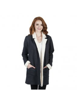 Dámský hřejivý kabát z biobavlny ARTEMIS s plyšem - antracit s bílou