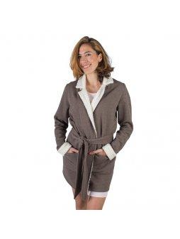 Dámský hřejivý kabát z biobavlny ARTEMIS s plyšem - hnědá s bílou