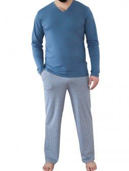 Pánské pyžamové kalhoty z biobavlny - modré