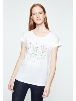 """Dámské bílé tričko s kytičkami z biobavlny """"LIVAA FLOWERY"""""""