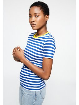 "Dámské pruhované tričko z biobavlny a eukalyptu ""Lida Bold Stripes Signal Blue"""