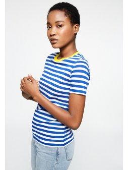 "Dámské pruhované tričko z biobavlny a eukalyptu ""Lidaa Bold Stripes Signal Blue"""