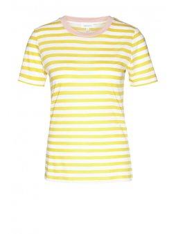 "Dámské pruhované tričko z biobavlny a eukalyptu ""Lida Bold Stripes White-Yellow"""