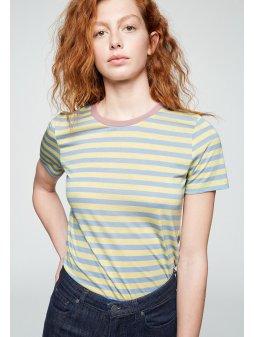 "Dámské pruhované tričko z biobavlny a eukalyptu ""Lidaa Bold Stripes Vanilla"""
