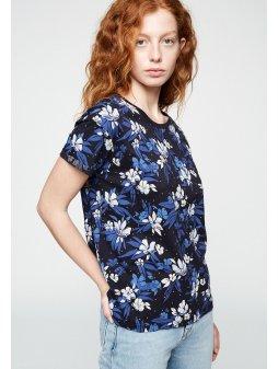 """Dámské tričko z biobavlny """"NAALIN DISPERSED FLOWERS DARK NAVY"""""""