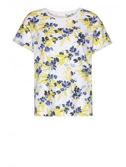 "Dámské tričko z biobavlny ""NAALIN DISPERSED FLOWERS WHITE"""