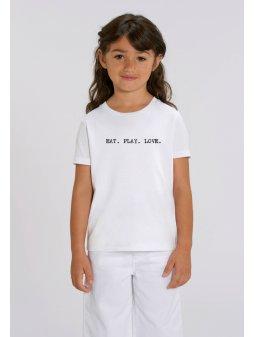 """Dětské unisex tričko pro holky i kluky """"EAT PLAY LOVE"""" design psací stroj"""