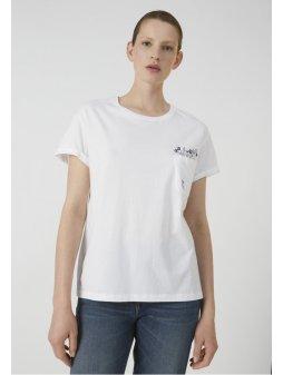 "Dámské bílé tričko z biobavlny ""NAALIN POCKET FULL OF FLOWERS"""