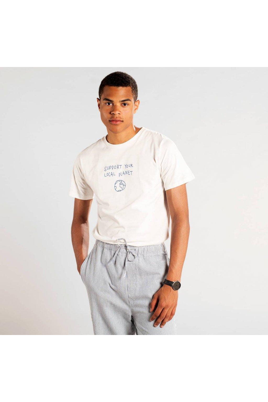 """Pánske biele tričko s výšivkou """"Stockholm Local Planet Off-White"""""""
