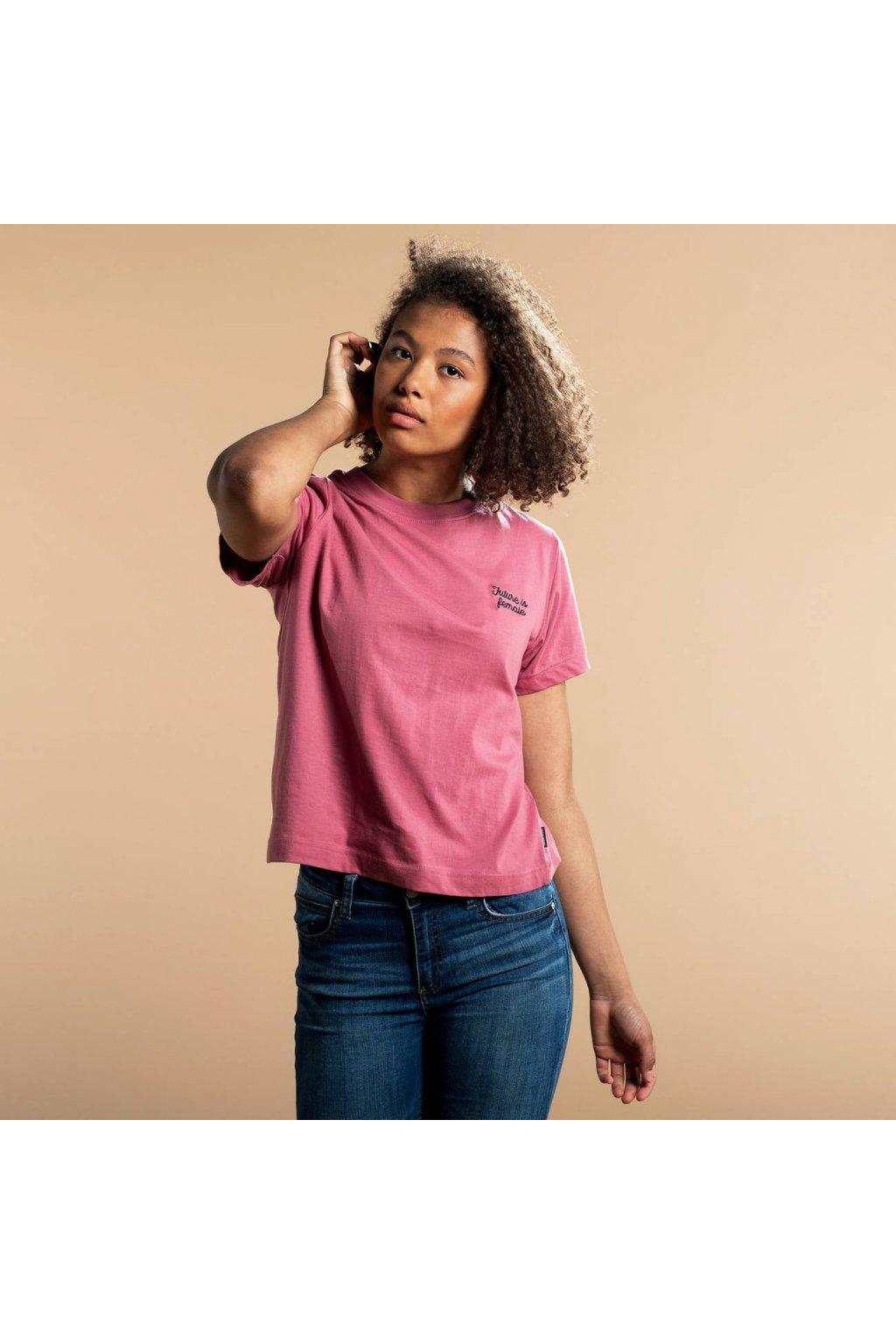 "Dámske ružové tričko s výšivkou ""Mysen Future Is Female Rose"""