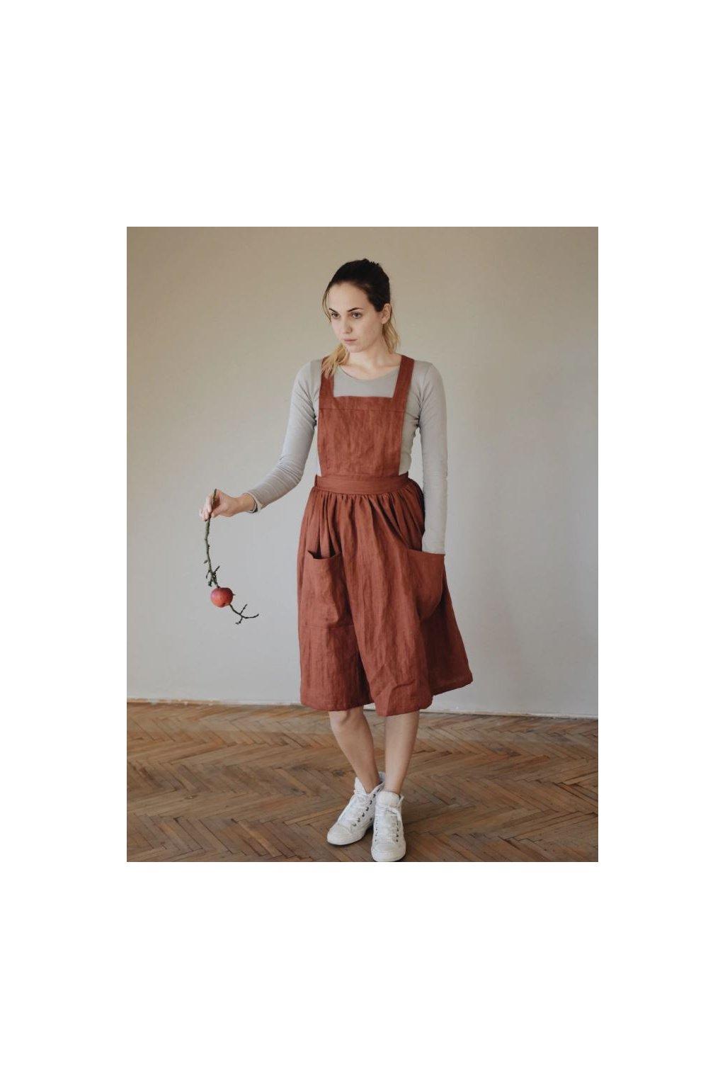 Dámska ľanová sukňa na traky - rôzne farby