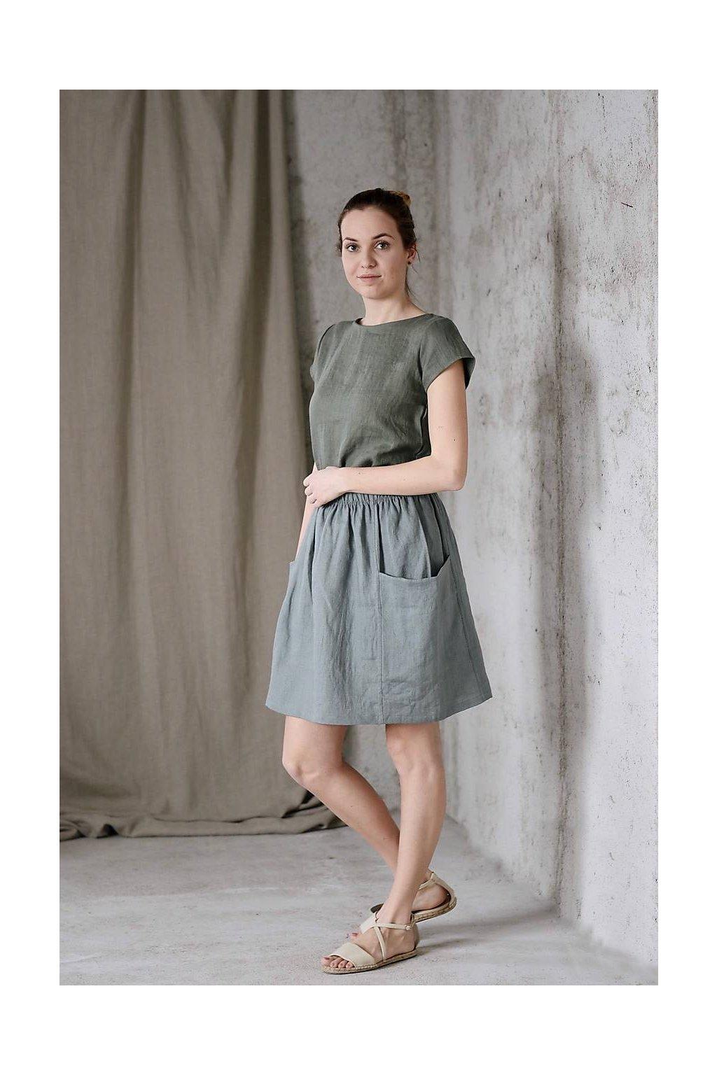 """Dámska ľanová sukňa s vreckami """"MOLLY"""" rôzne farby"""
