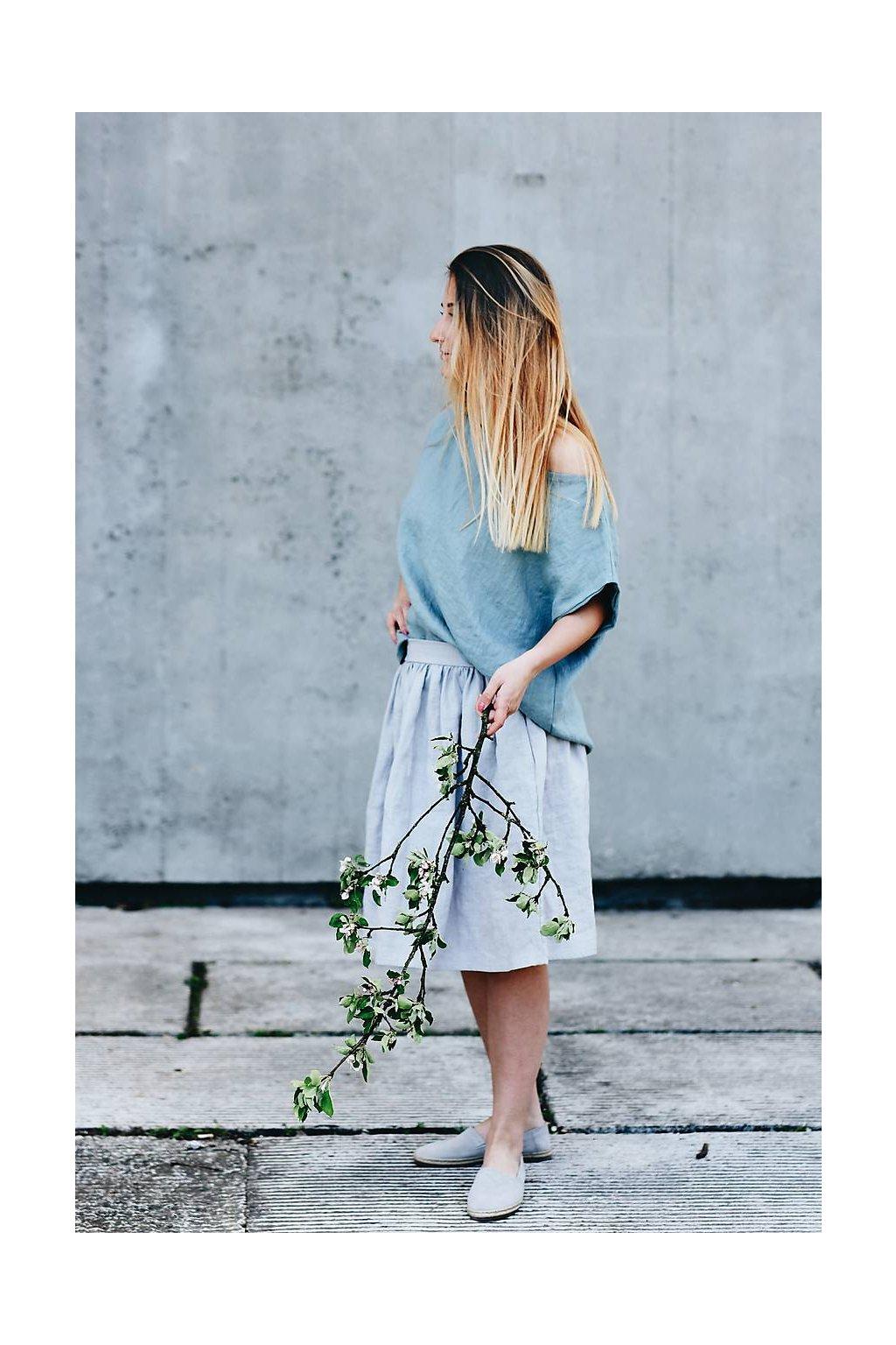 Dámska ľanová sukňa voľného strihu s vreckami - rôzne farby