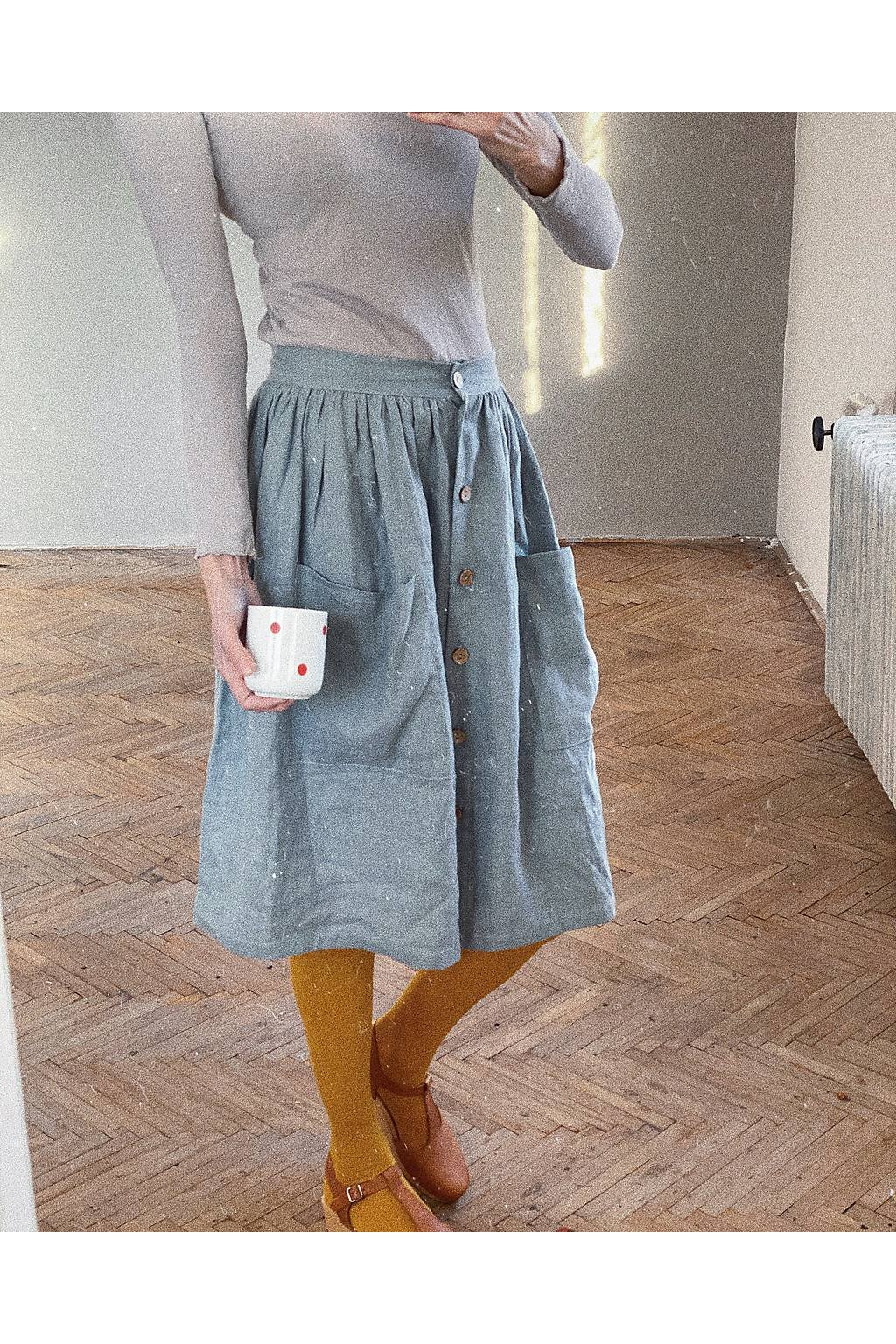 Dámska ľanová sukňa s gombíkmi - rôzne farby