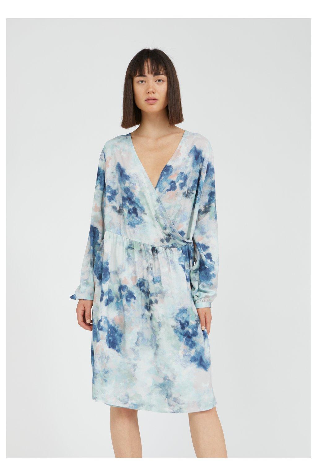 """Dámske vzorované šaty """"ELVINAA WATERCOLORS foggy blue"""""""