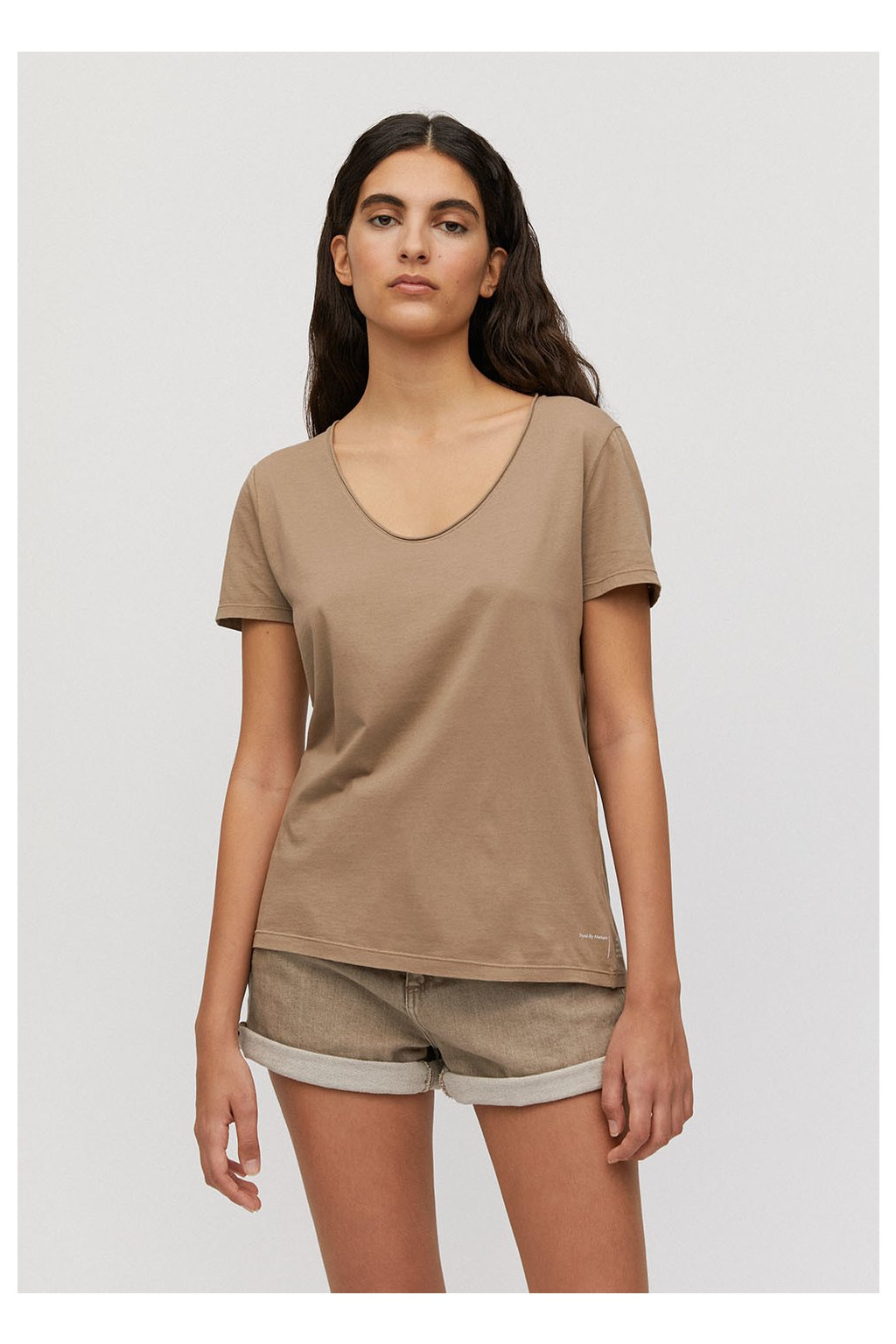 """Dámské béžové tričko """"HAADIA DYED BY NATURE natural sand"""" (Velikost L)"""