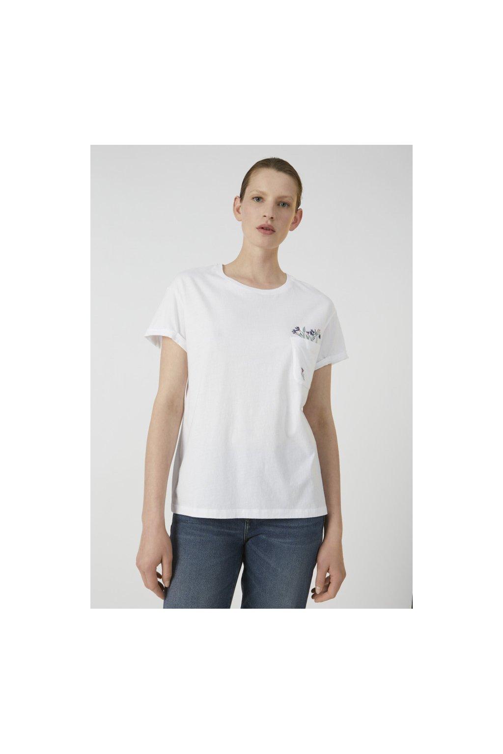 "Dámské bílé tričko z biobavlny ""NAALIN POCKET FULL OF FLOWERS"" (Velikost L)"