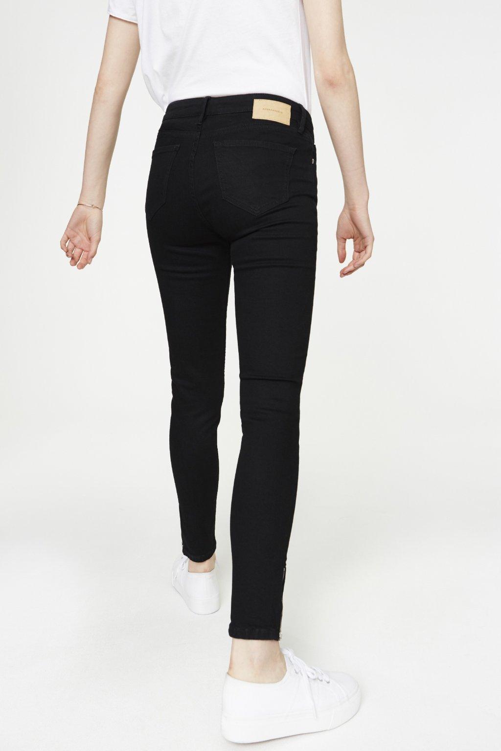 """Dámské černé džíny se zipem z biobavlny """"Tilly Cropped"""" (Velikost 26/32)"""