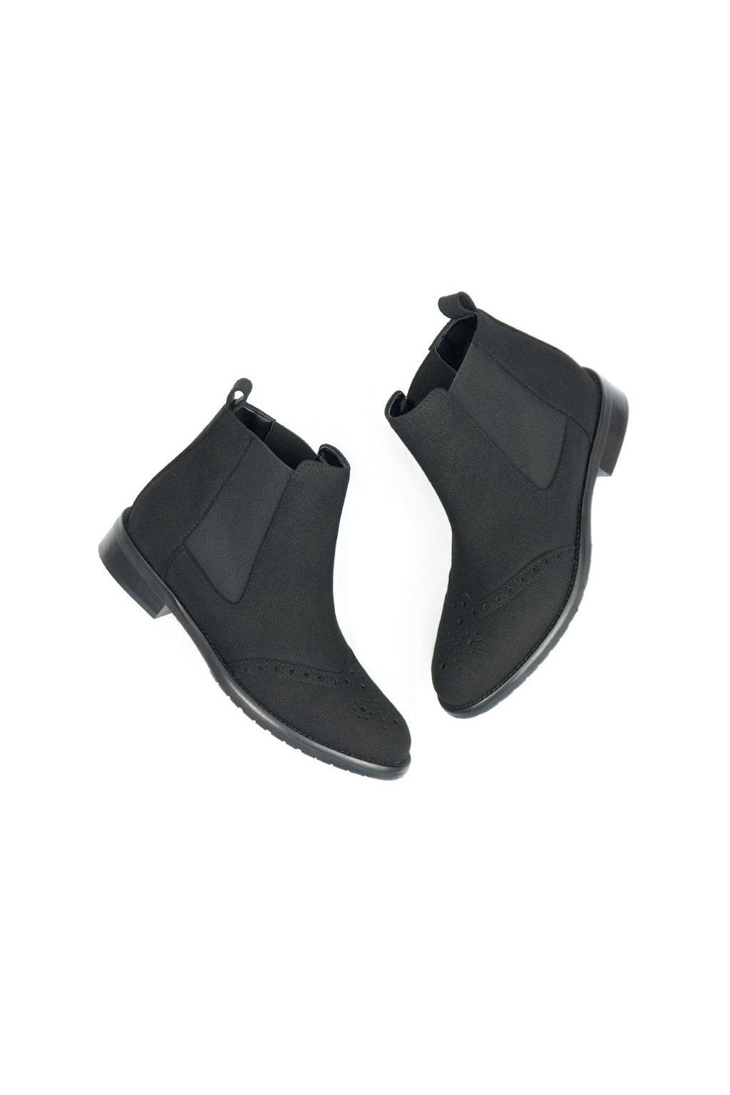 "Dámske čierne členkové topánky ""Brogue Booties"""