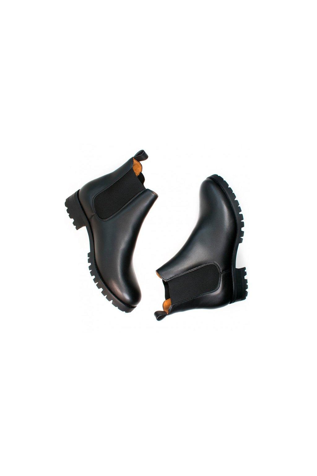 """Dámske čierne členkové topánky """"Luxe Deep Tread Chelsea Boots"""""""