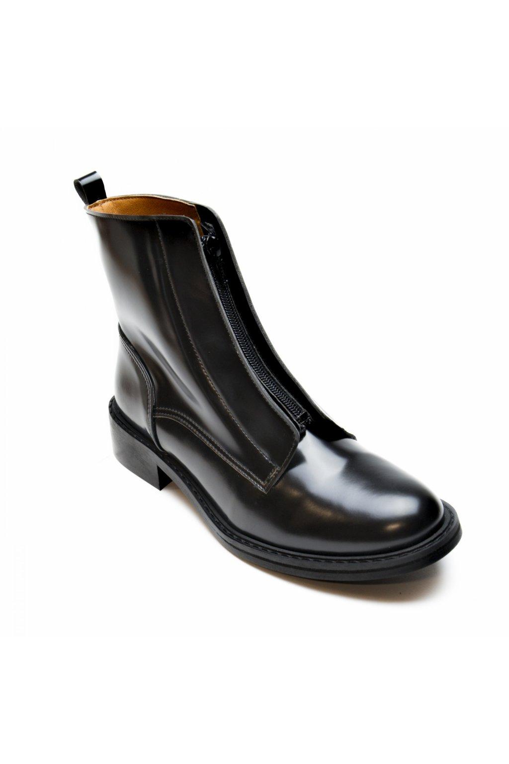 "Dámske čierne členkové topánky ""Zipme Black"""