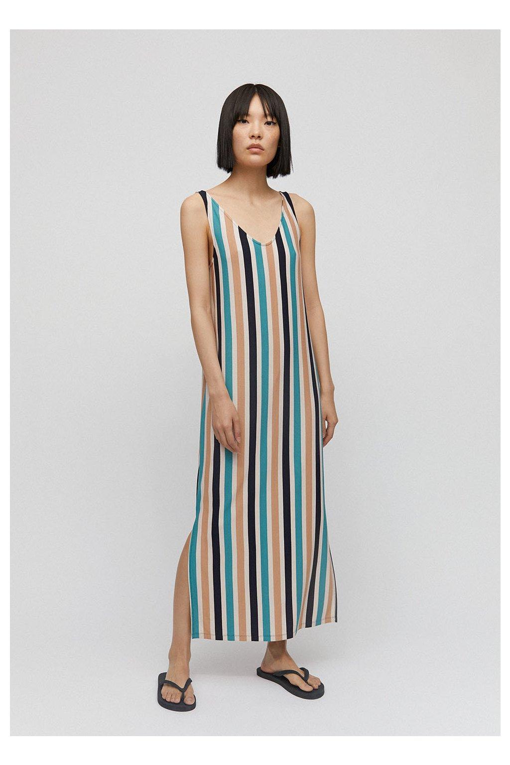 """Dámské dlouhé šaty s pruhy """"MADALENAA multi stripe"""" (Velikost L)"""