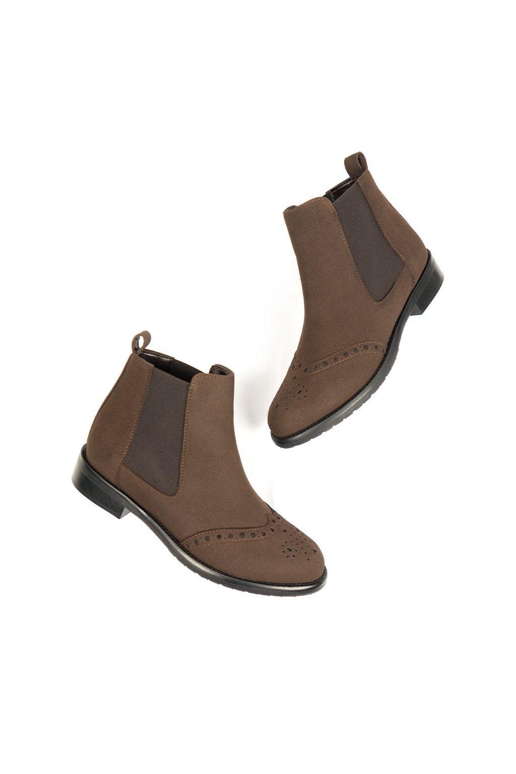 """Dámske hnedé členkové topánky """"Brogue Booties"""""""