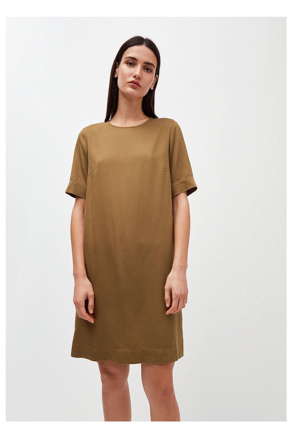 """Dámské hnědé šaty """"MARGITAA golden khaki"""" (Velikost L)"""