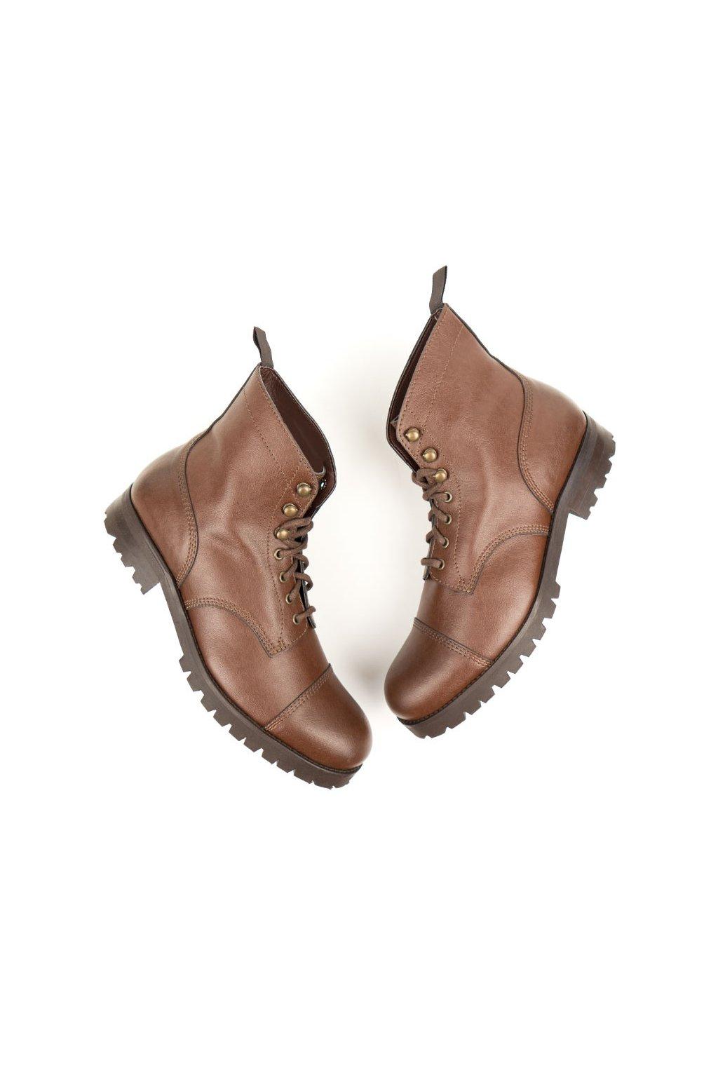 """Dámske hnedé členkové topánky """"Work Boots Chestnut"""""""