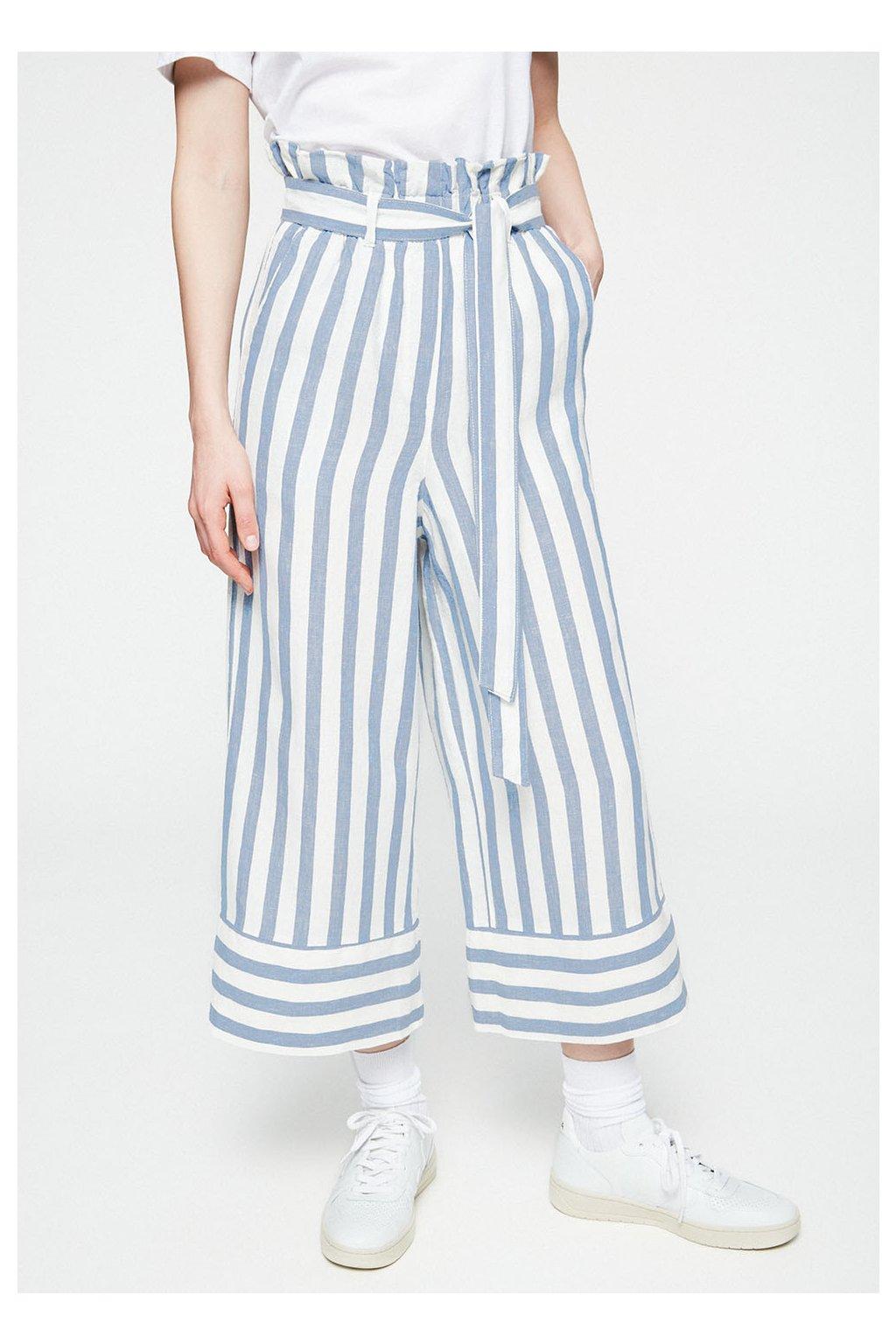 """Dámské lněné kalhoty """"MAARINA BLOCK STRIPE"""" (Velikost L)"""