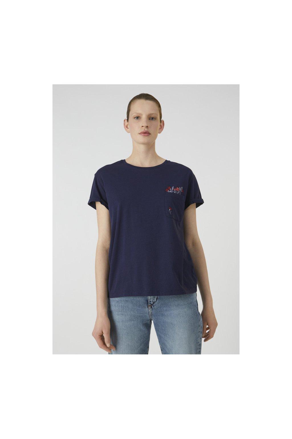 "Dámské modré tričko z biobavlny ""NAALIN POCKET FULL OF FLOWERS"" (Velikost L)"